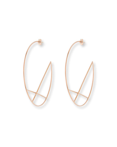 Lana 14k Wire Diagonal Cross Eclipse Hoop Earrings