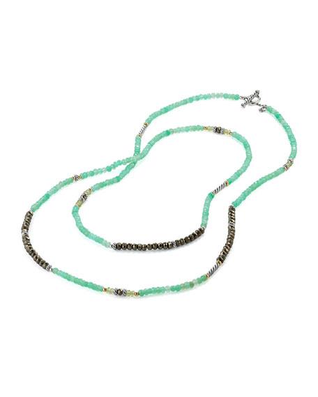 "David Yurman Tweejoux® Long Silver Bead Necklace in Green/Gray Stone Mix, 36"""