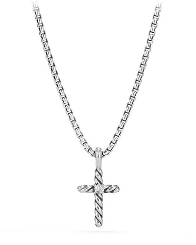 Kid's Cable Collectibles® Silver Cross Necklace w/ Diamonds