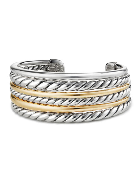 Image 1 of 3: David Yurman Pure Form Multi-Row Cuff Bracelet w/ 18k Gold