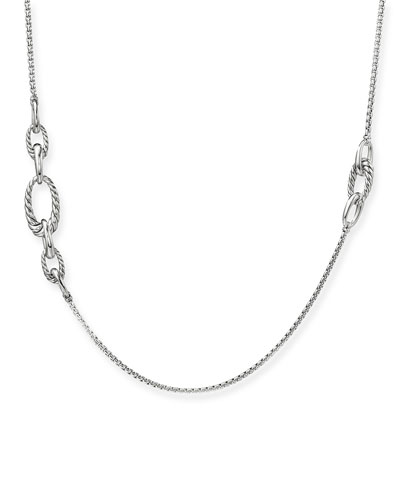 Pure Form Silver Graduated Link Station Necklace