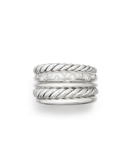David Yurman Pure Form Wide Ring w/ Diamonds