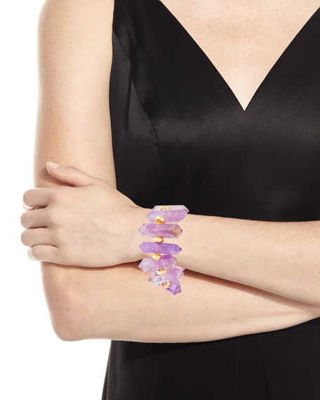 Devon Leigh Purple Amethyst Spike Stretch Bracelet