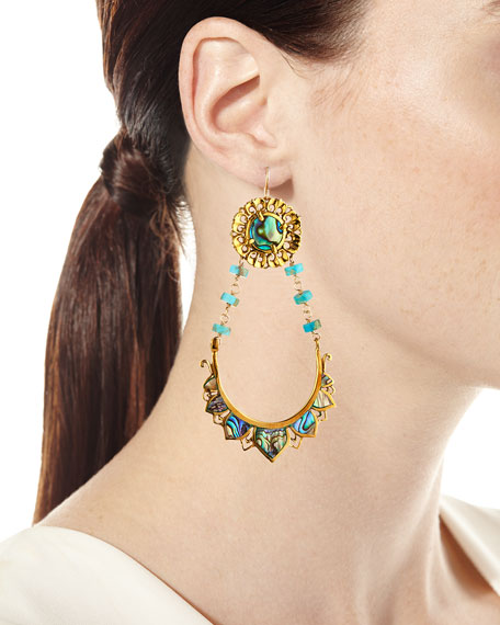 Devon Leigh Abalone & Turquoise Drop Earrings