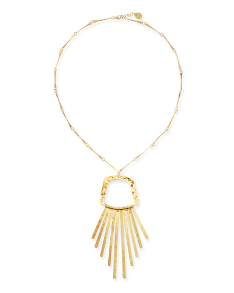 Image 1 of 2: Devon Leigh Long Golden Fringe Pendant Necklace