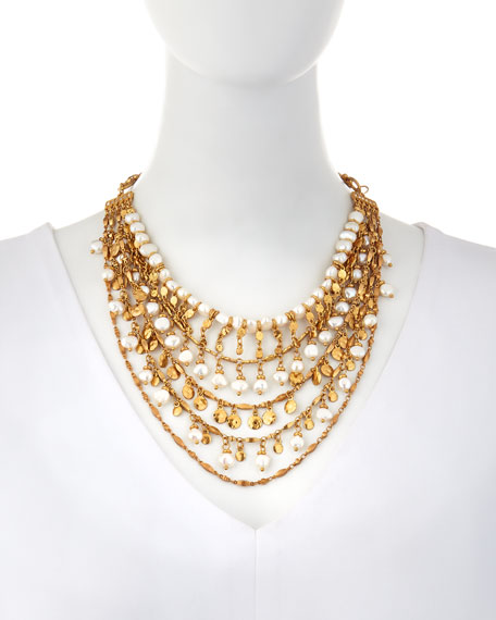 Swarovski Crystal Pearl-Bead Tiered Necklace