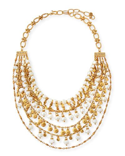 Swarovski Crystal Pearl-Bead Tiered Necklace