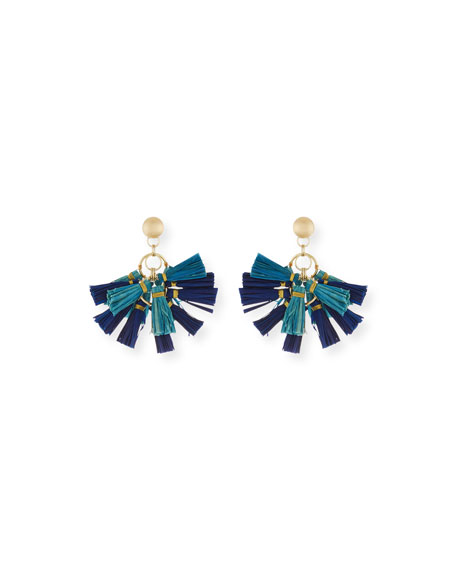 Akola Raffia Tassel Statement Earrings, Blue