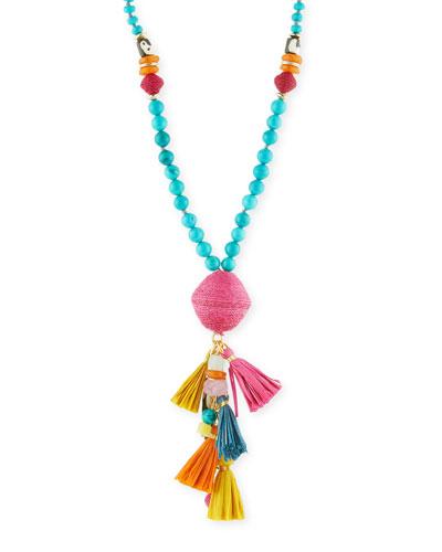 Long Mixed Bead Necklace w/ Multi-Tassel Drop  Multicolor