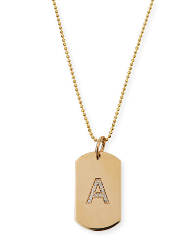 Personalized 14k Gold Pave Diamond Initial Dog Tag Necklace