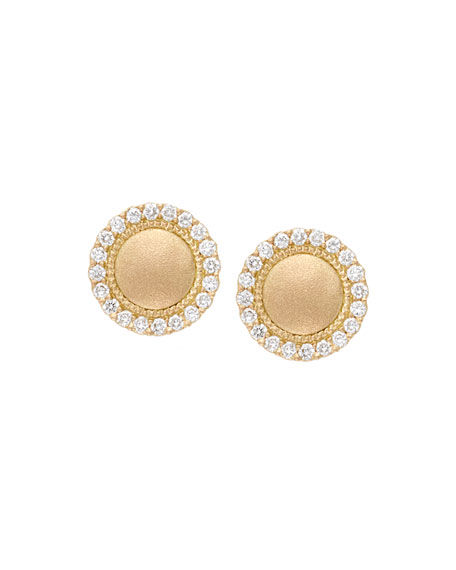 Jamie Wolf 18k Diamond Pave Edge Stud Earrings