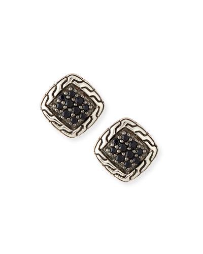 Classic Chain Black Sapphire Stud Earrings