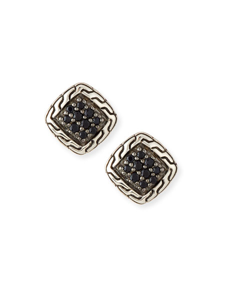 Classic Chain Black Sapphire Stud Earrings