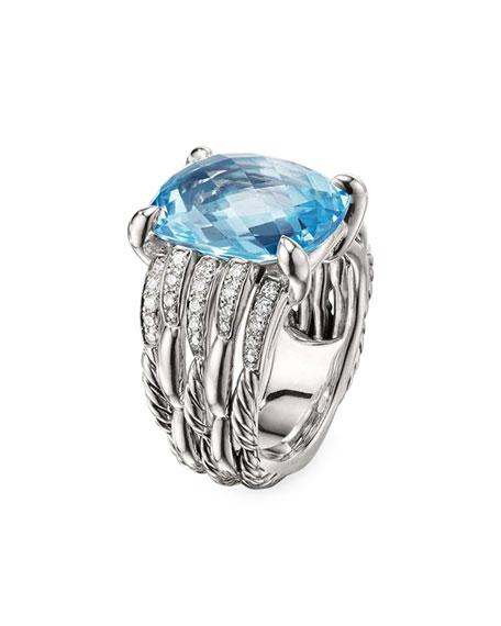 David Yurman Tides Diamond & Blue Topaz Ring