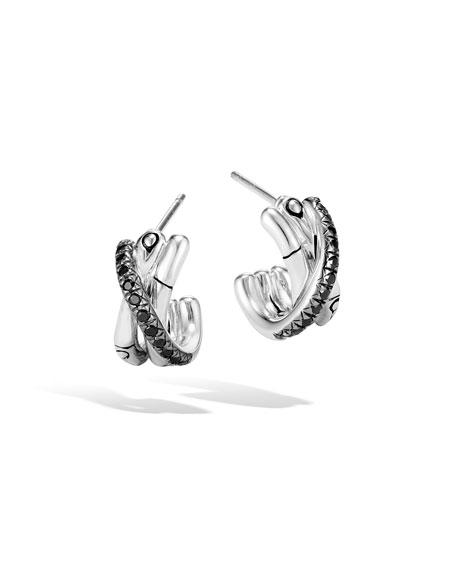 John Hardy Bamboo Silver J Hoop Earrings w/