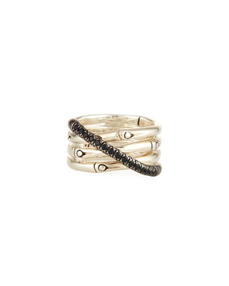 John Hardy Bamboo Silver Band Ring w/ Black Pave