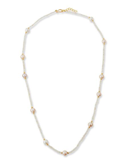 """Dina Mackney Chalcedony & Pearl Strand Necklace, 36"""""""