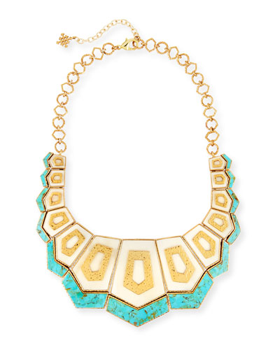Turquoise & Bone Hexagon Bib Necklace