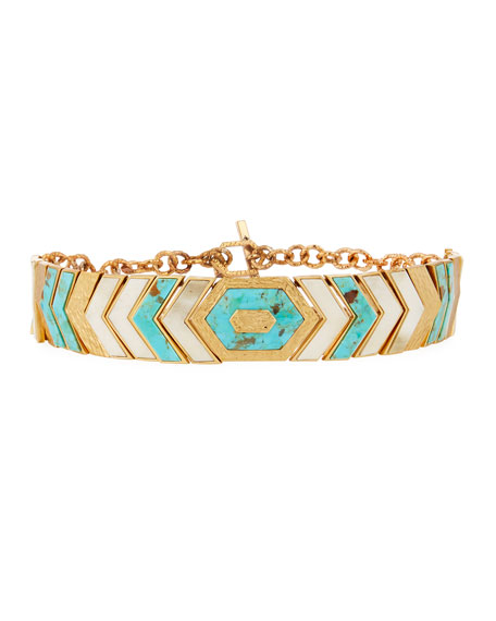 Akola Turquoise & Bone Chevron Collar Necklace