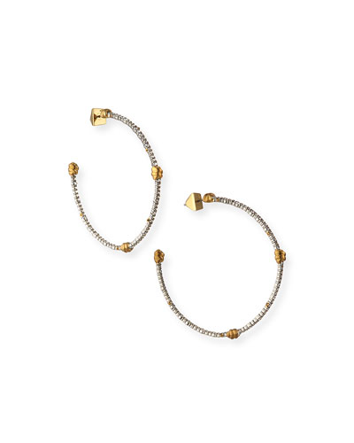 Crystal Pave Knotted Hoop Earrings