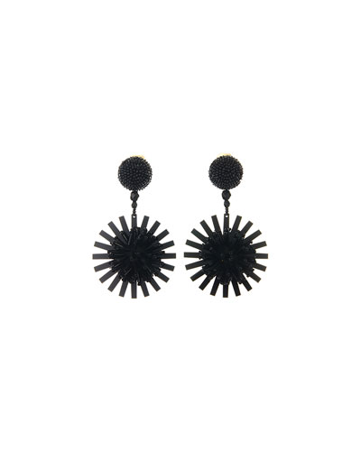 Pompom Flower Beaded Earrings