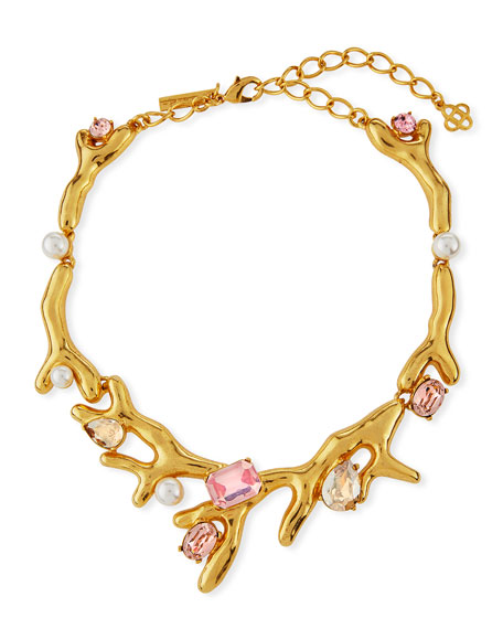Coral Choker Necklace w/ Swarovski® Crystals