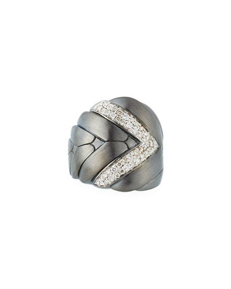 John Hardy MODERN CHAIN LARGE DIAMOND RING WITH BRUSHED FINISH