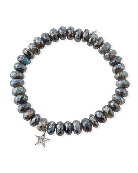 Labradorite Rondelle Bracelet w/ Diamond Star