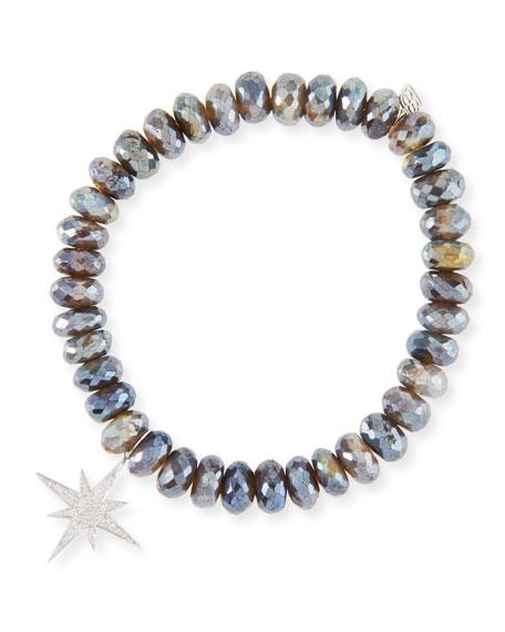 Sydney Evan Labradorite Bead Bracelet w/ Starburst Charm