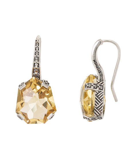 Image 1 of 2: Stephen Dweck Galactical Drop Earrings, Champagne Quartz