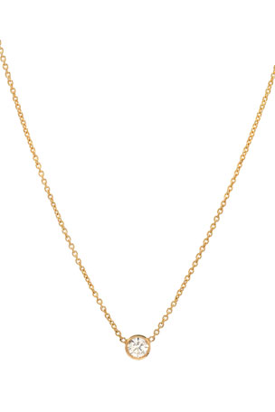 Zoe Lev Jewelry 14k Yellow Gold Small Bezel Diamond Necklace
