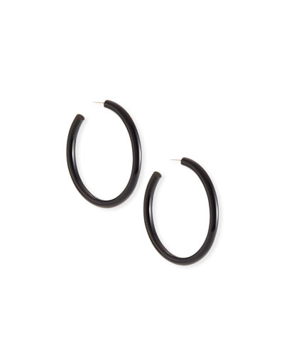 Sleek Black Horn Hoop Earrings