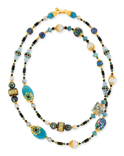 Long Jade & Glass-Pearl Necklace w/ Cloisonne Beads, 48