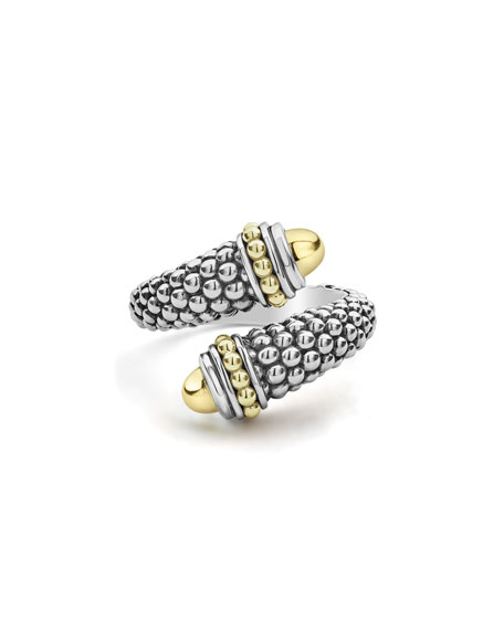 LAGOS Signature Caviar Two-Tone Crossover Ring