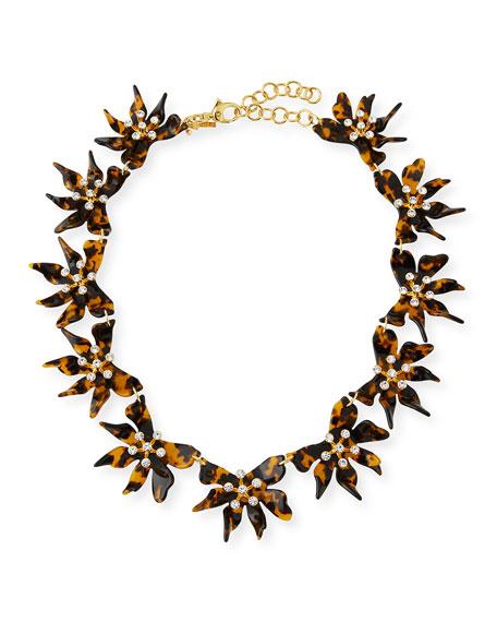 Lele Sadoughi Daffodil Flower Necklace w/ Crystals