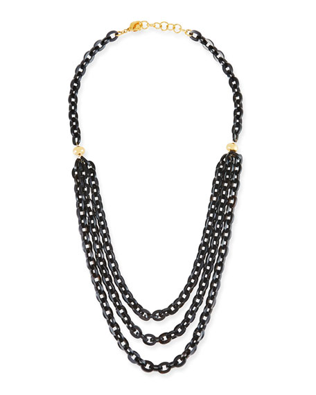 Image 1 of 3: Multi-Strand Necklace w/ Black Horn, 38""