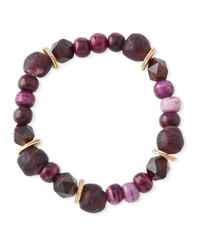 Multihued Jade, Bone & Glass Bead Bracelet