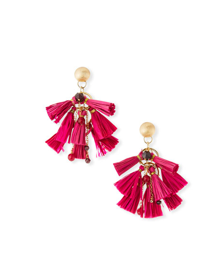 Akola Raffia & Bead Tassel Statement Earrings, Pink