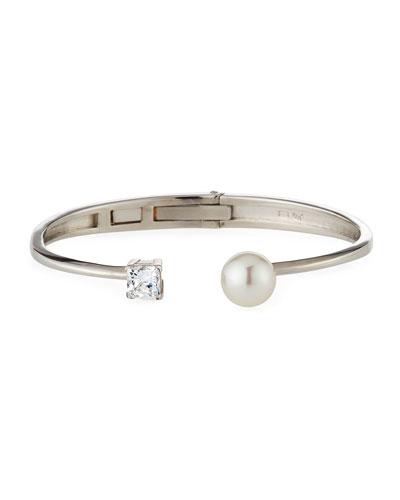 10mm Manmade Pearl & Cubic Zirconia Split Silver Bangle Bracelet