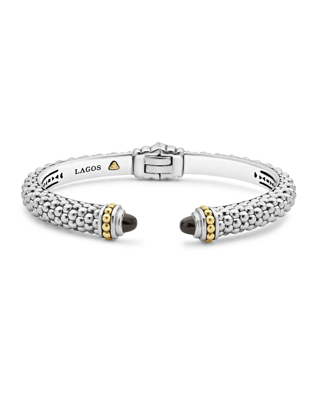 ec7dc10384c Lagos 8mm Sterling Silver Caviar Hinge Cuff Bracelet | Neiman Marcus
