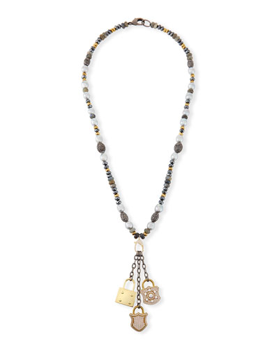 Christie Pearl & Hematite Lock Necklace
