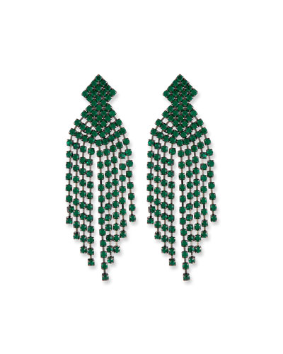 Emerald Waterfall Clip-On Earrings