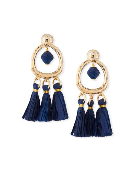 AKOLA Tassel & Hoop Drop Earrings in Blue