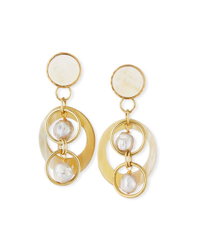 White Horn & Pearl Drop Earrings