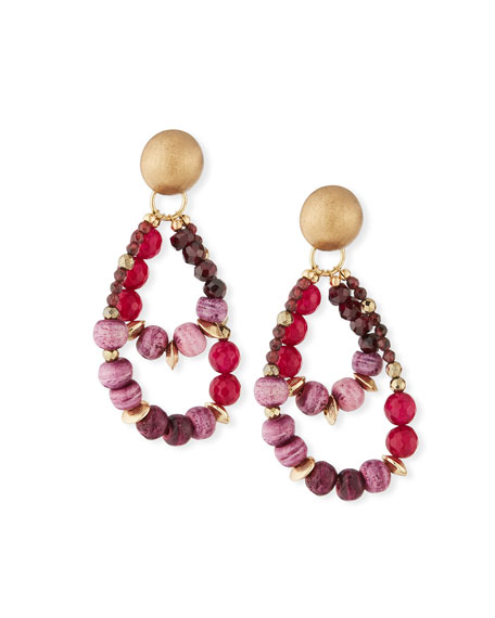 Akola Pink & Plum Beaded Earrings