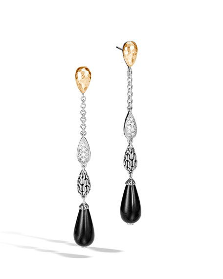 John Hardy Classic Chain Droplet Earrings w/ 18k Gold & Diamonds
