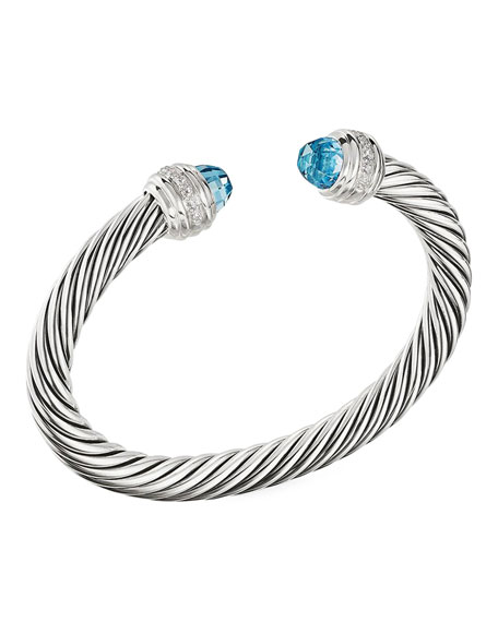 Image 1 of 3: David Yurman 7mm Cable Bracelet with Diamonds & Topaz