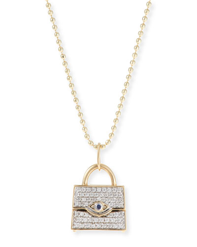 14k Handbag Pendant Necklace w/ Diamonds