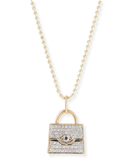 Sydney Evan 14k Handbag Pendant Necklace w/ Diamonds