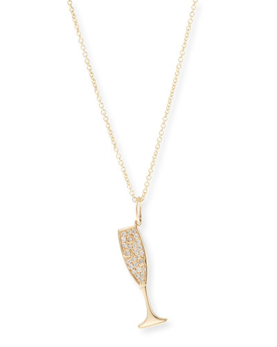 14k Champagne Pendant Necklace w/ Diamonds